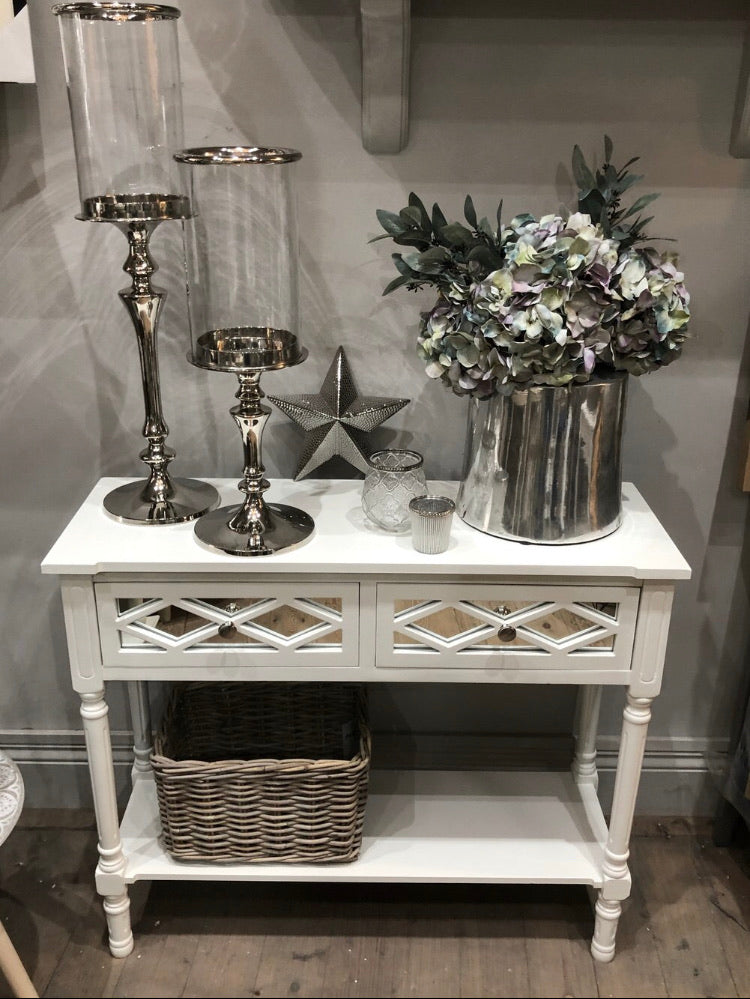 white mirrored 2 drawer console store seconds