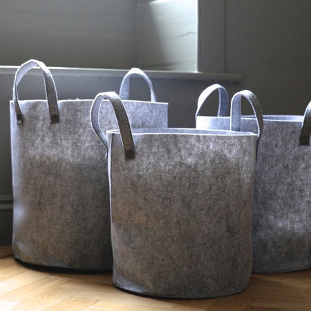Small grey felt basket