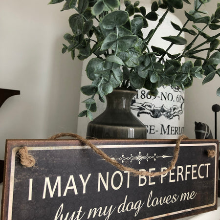 Wooden hanging dog loves me sign