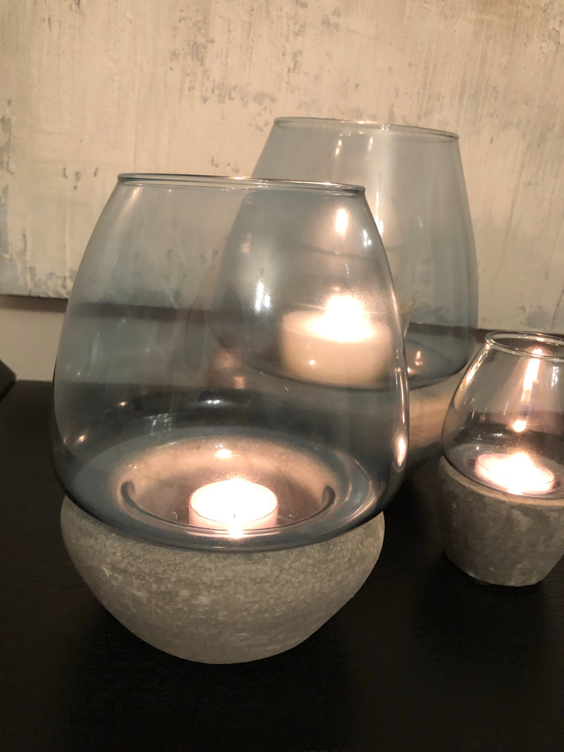 Small Blue Glass concrete tealight holder