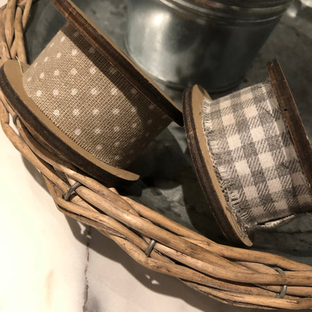 Grey Ribbon on wooden spool check