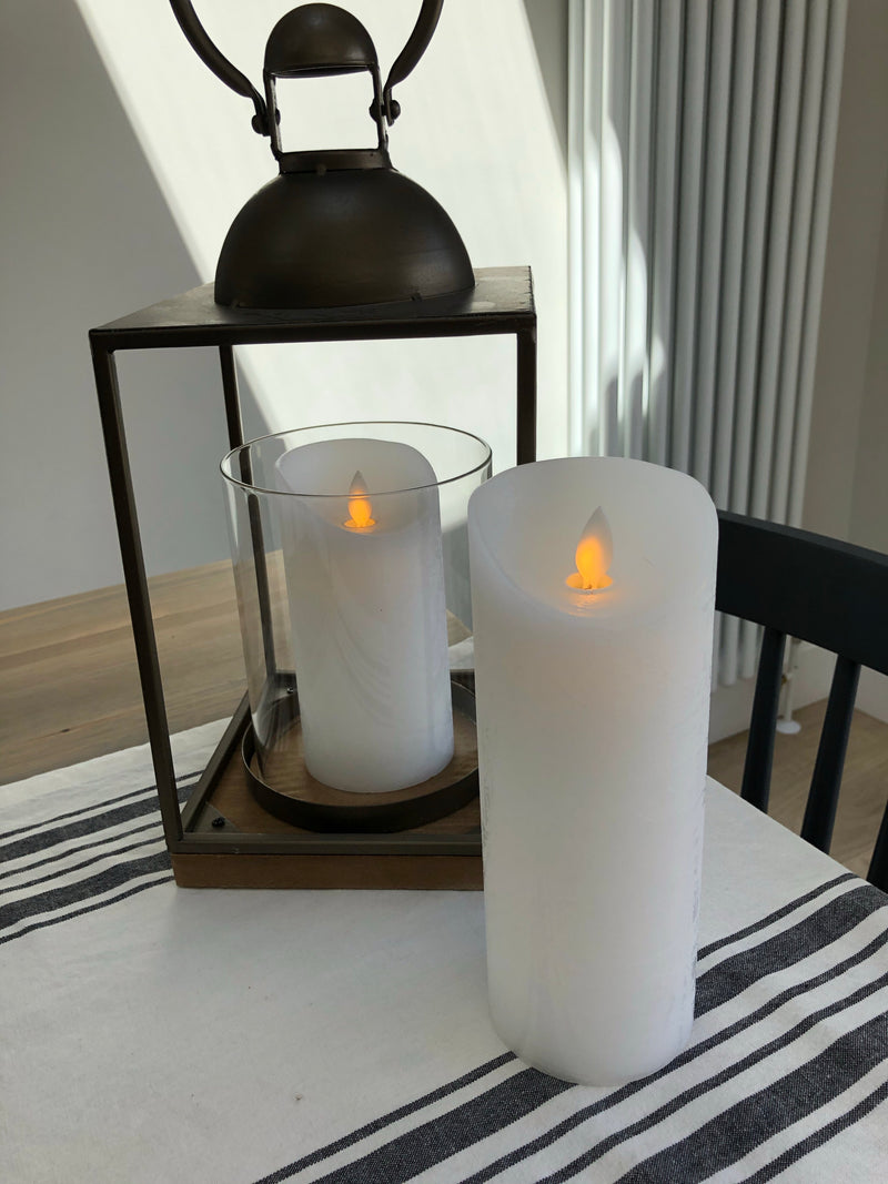 Luxe white flickering flame LED candle 20cm by 7cm