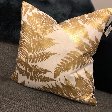 Gold and linen fern leaf cushion 45cm