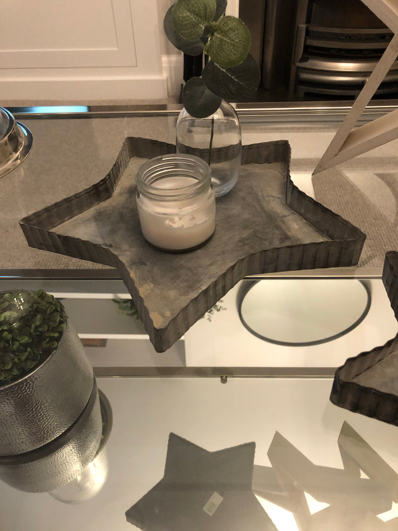 Small Rustic Metal Star Tray