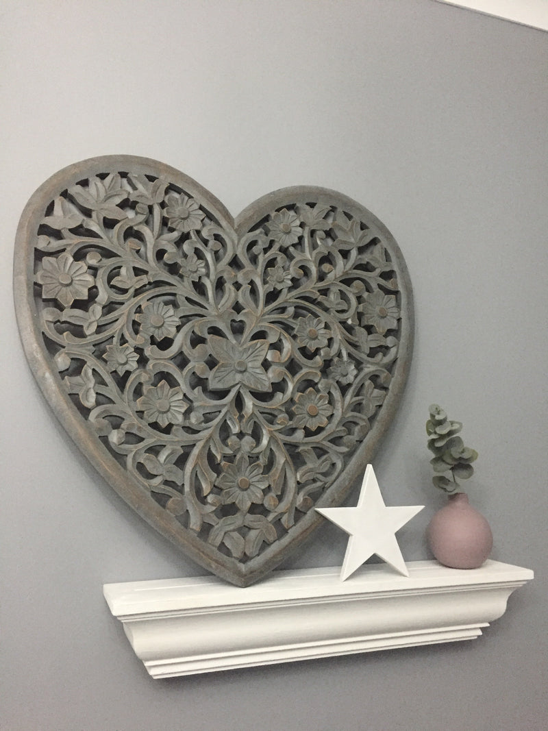 Grey carved heart