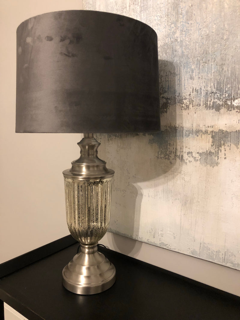 Mercury Glass table lamp with velvet shade