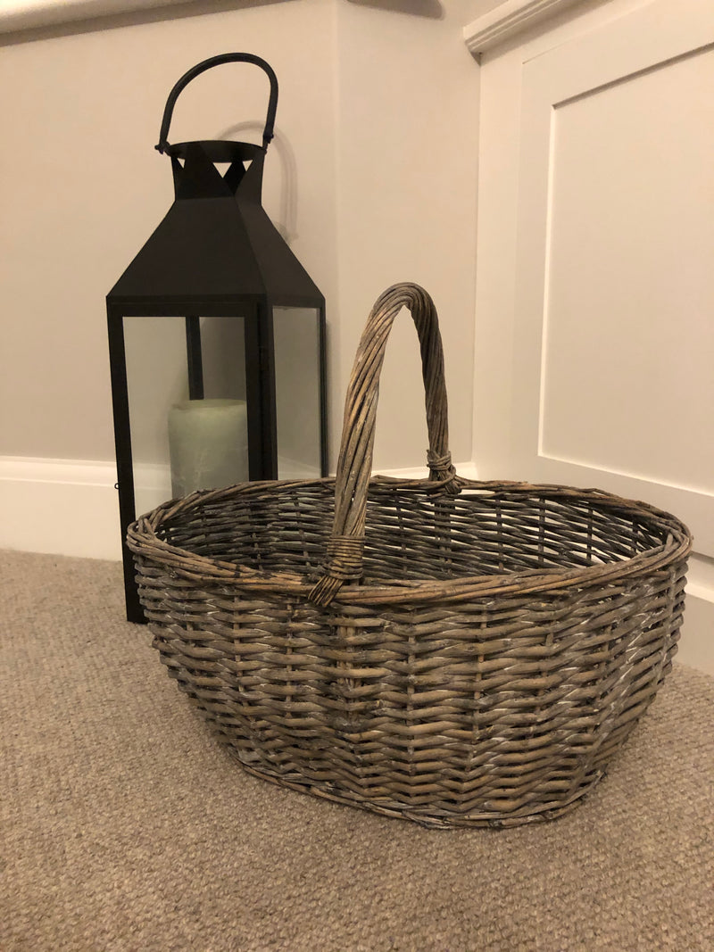 Grey Wicker shopping basket
