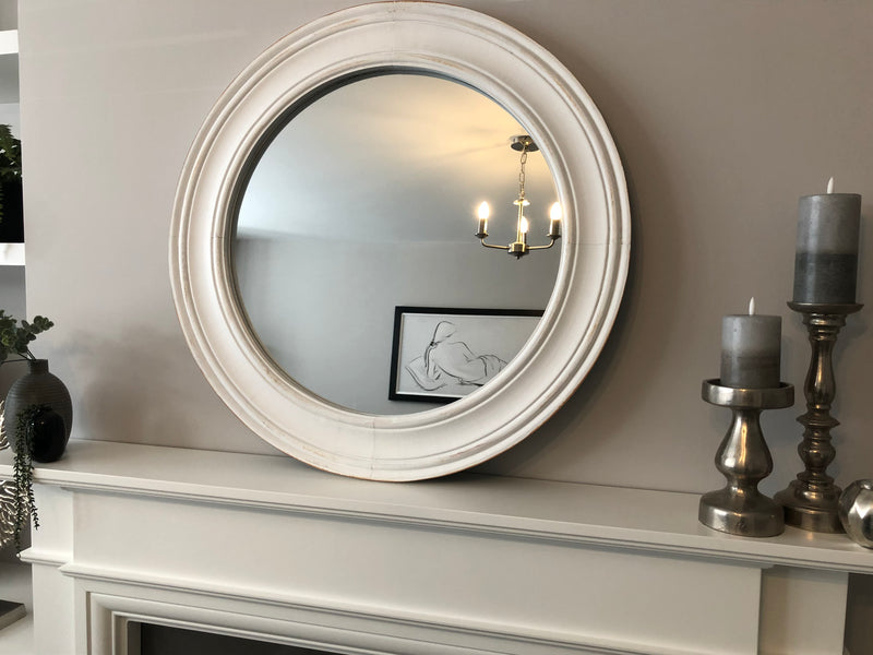 Grey washed tall arched window mirror