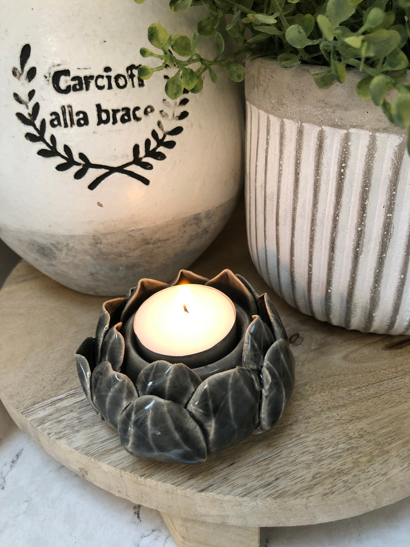 Lotus flower candle holder grey ceramic