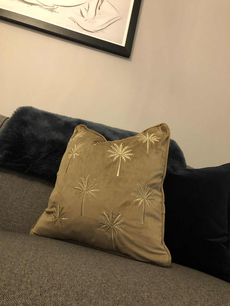 Palm tree gold and mink taupe cushion