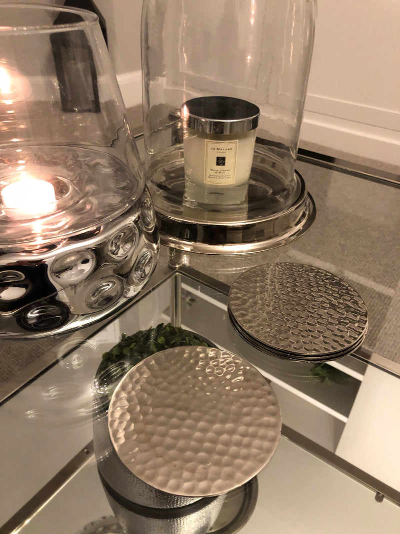 Silver hammered coasters x 4
