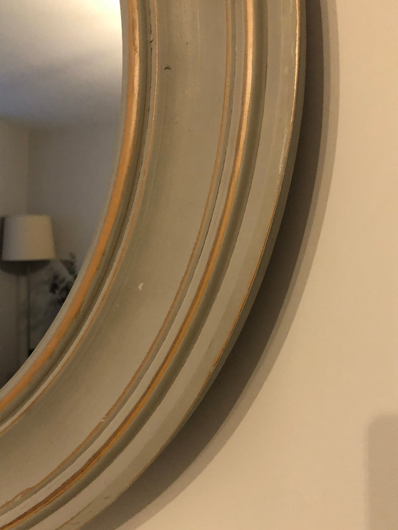 Store seconds chunky grey round mirror 76cm