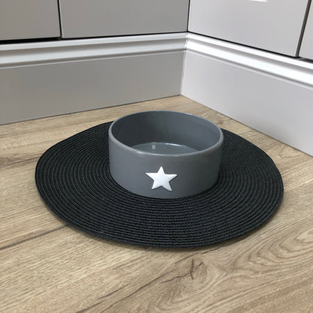 Store Second Grey ceramic shallow animal dog bowl with star