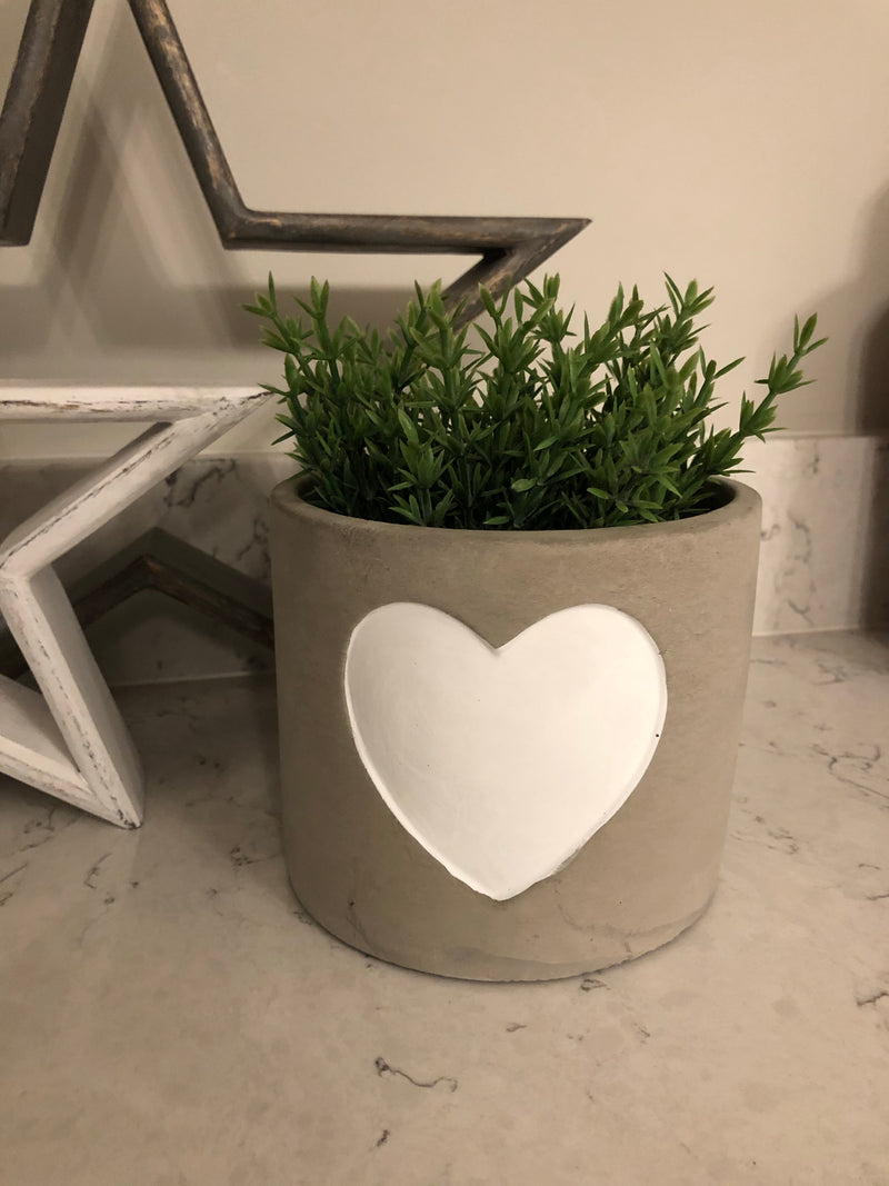 Large cement white heart plant pot
