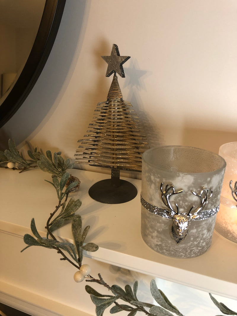 Frost and silver stag candle holder