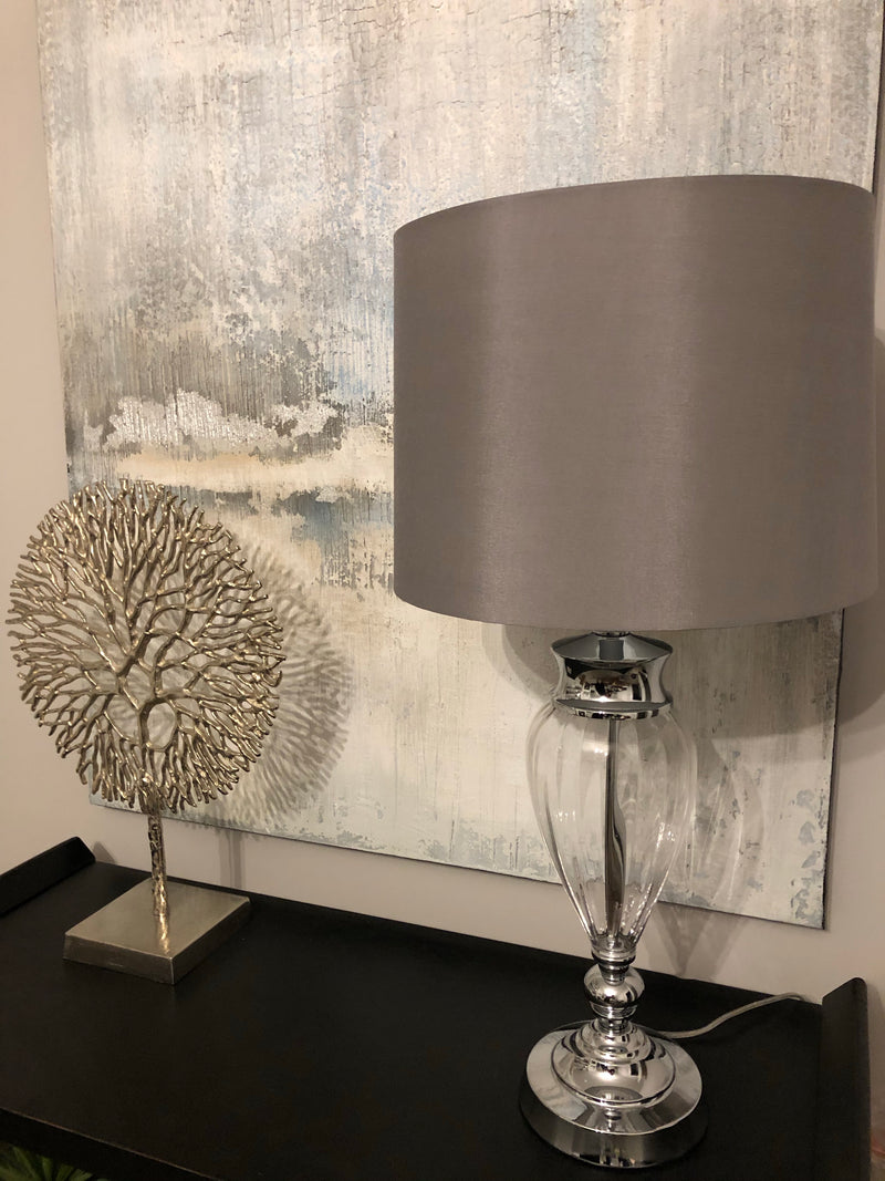 Brushed silver tripod table lamp