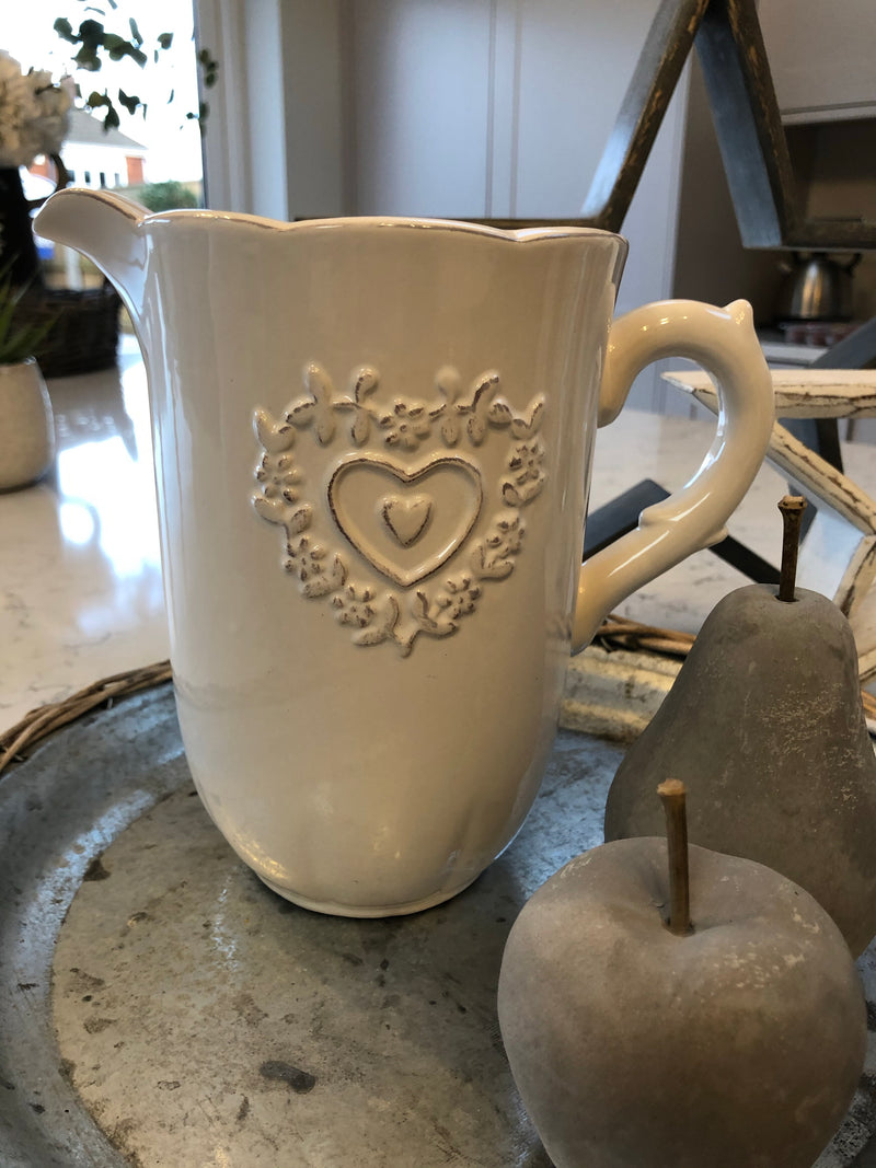 White Heart Embossed Jug