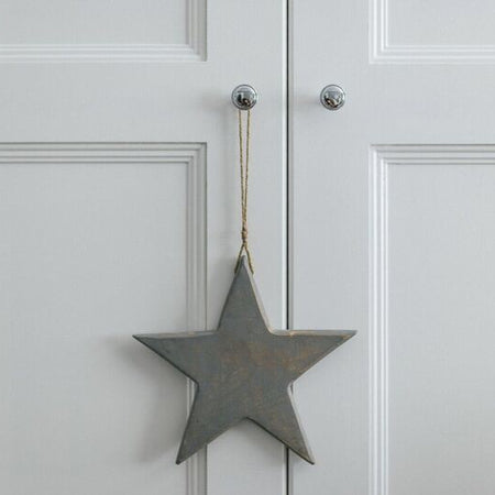Grey wood solid hanging star large