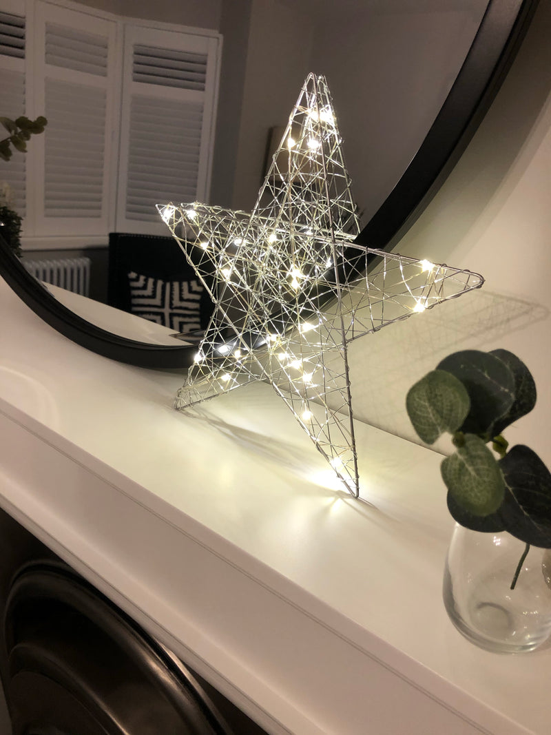 Small Wire LED Silver Star 30cm