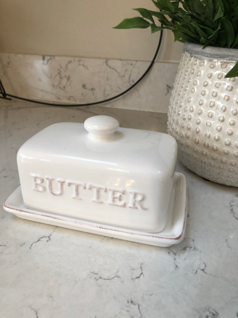 White ceramic butter dish