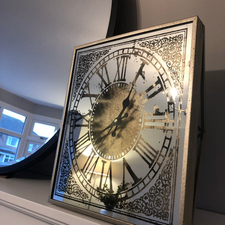 Mirrored Metal Wall clock with Gold detail