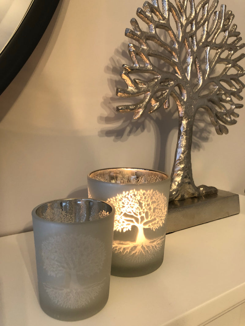 Small tree of life frosted candle holder