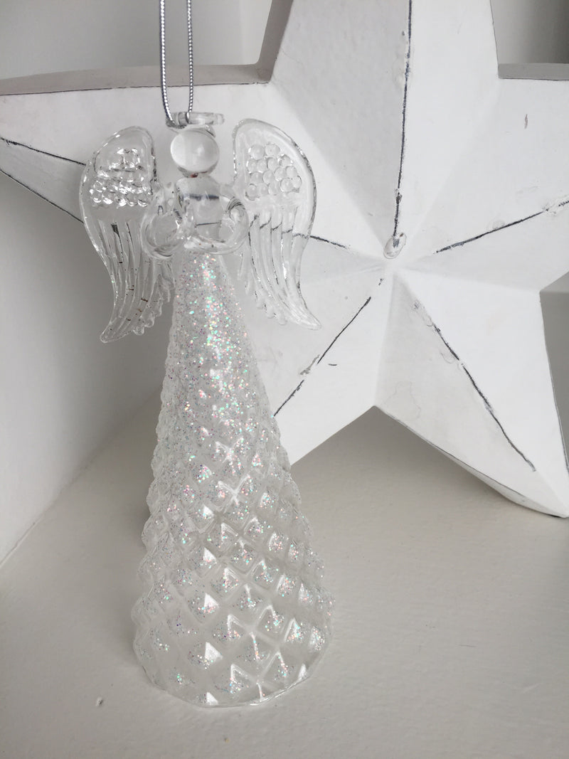 Large glass glitter hanging angel style 4