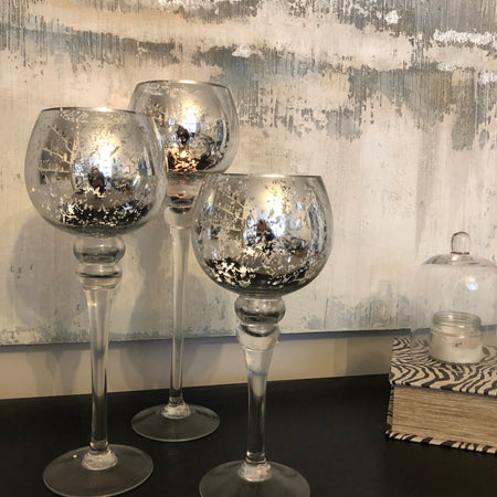 Set of 3 silver mercury candle cup holders