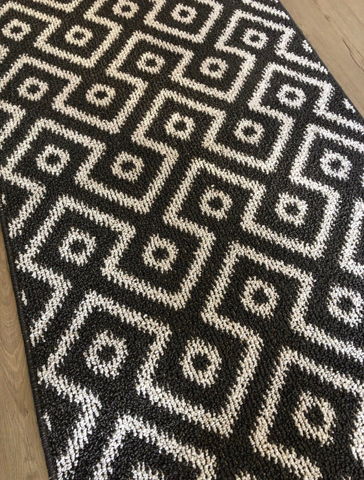 Long black geometric rug mat runner 65cm by 200cm