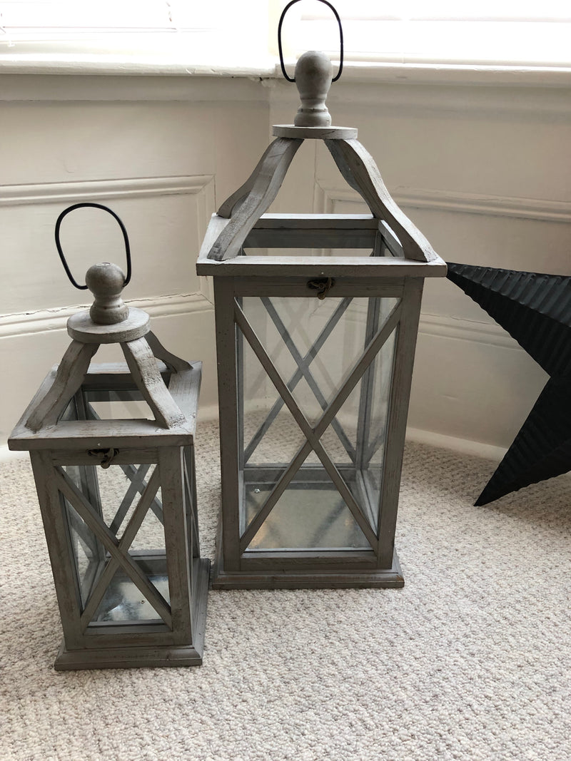 Medium Grey Wooden Lantern