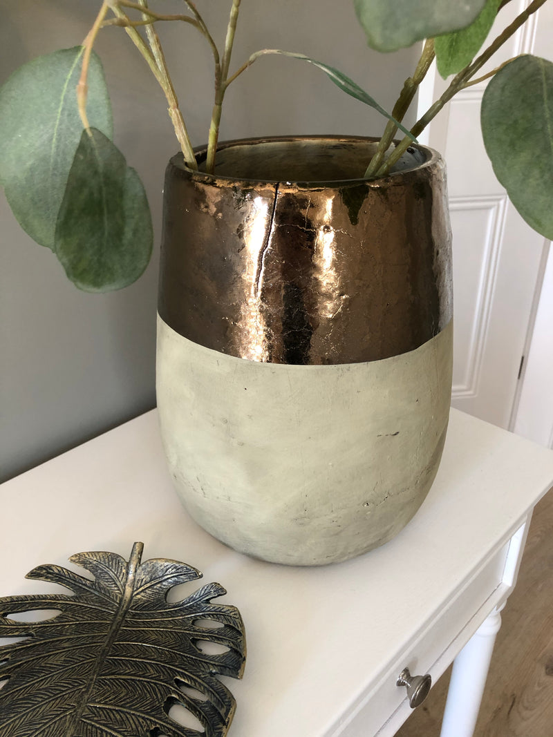 Chunky gold dipped stone vase