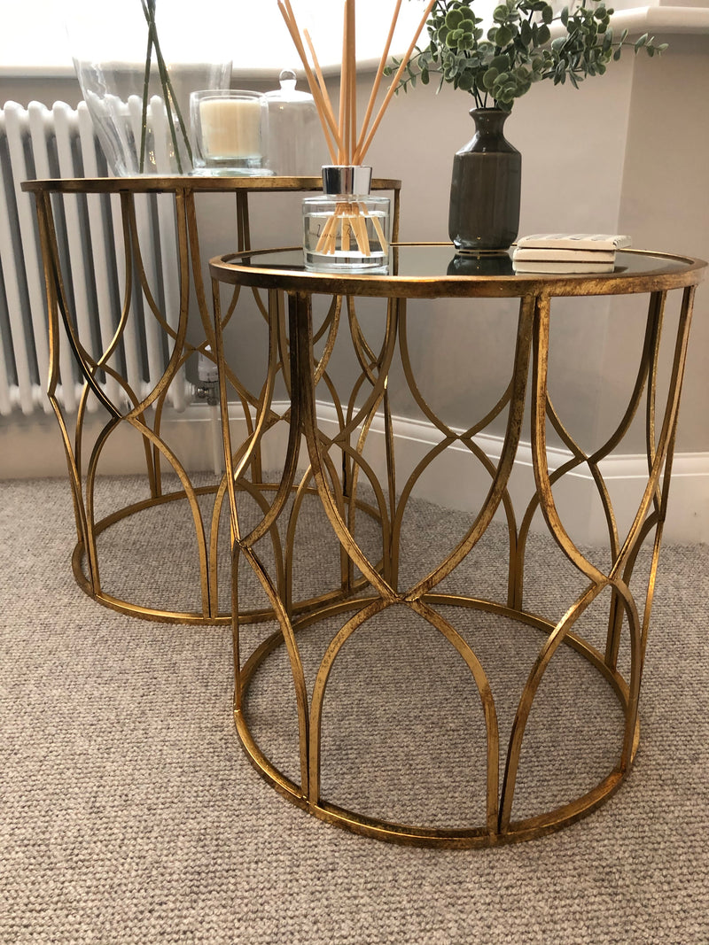 Large gold lattice side table