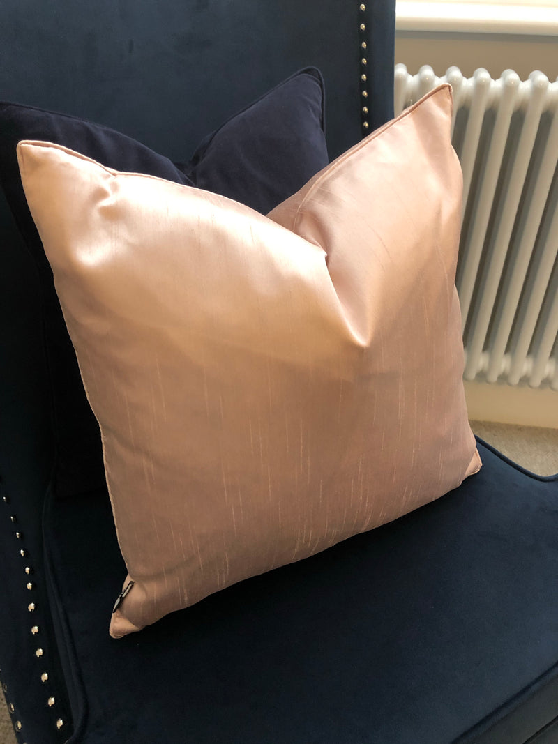 Pink silk look cushion 45cm