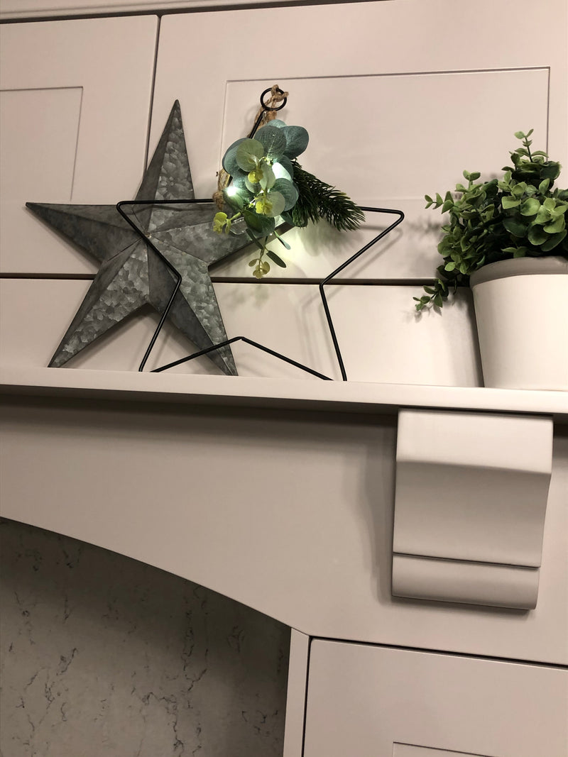 Store seconds Black Wire LED Star with foliage