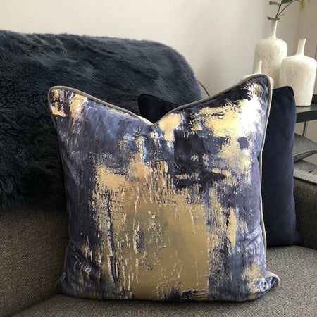 Lush abstract navy blue and gold luxury cushion