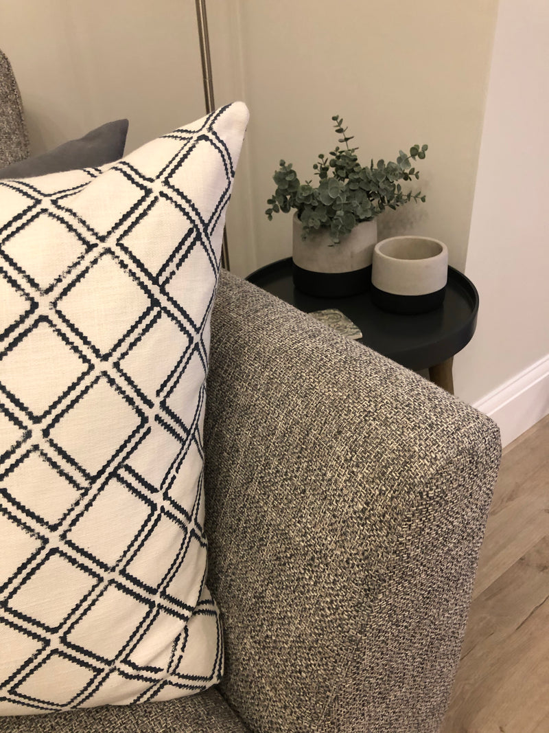 Navy Criss Cross Cushion