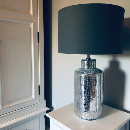 Silver Crackle glaze lamp