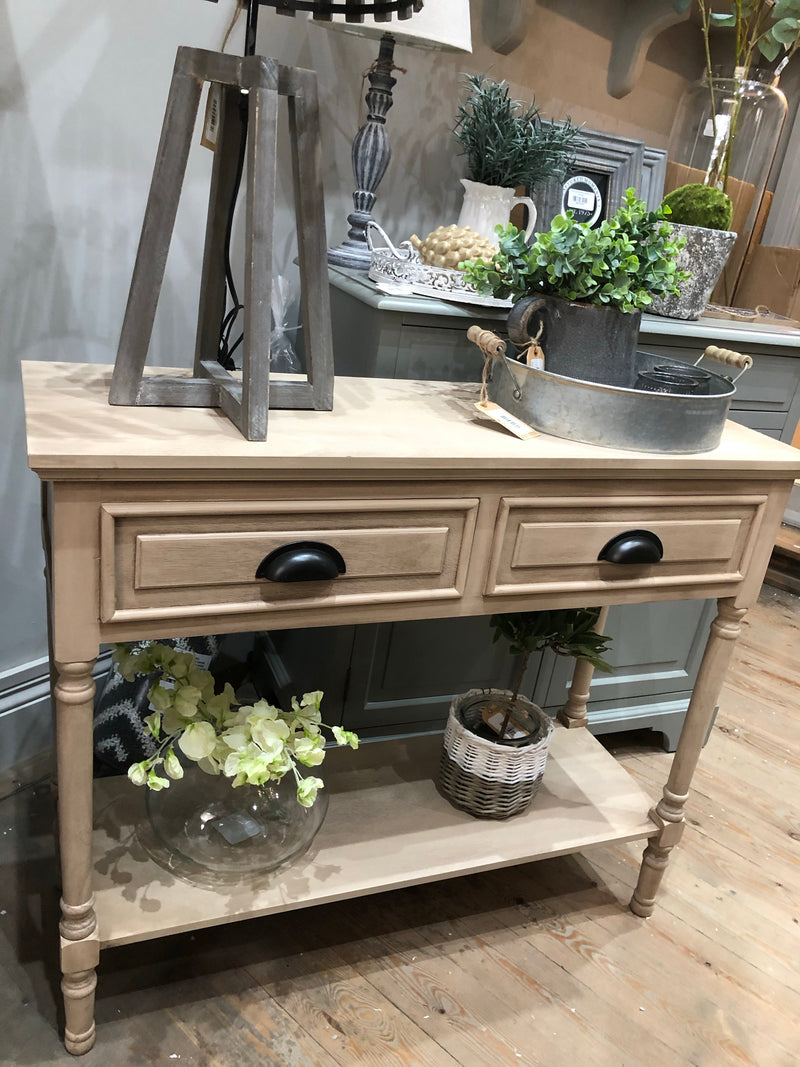 Store seconds Pine wood console with washed finish