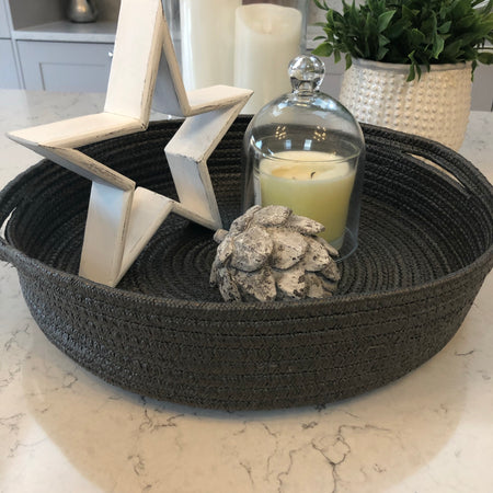 Recycled soft woven fabric grey round tray