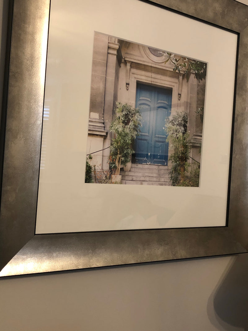 Pewter chunky framed french blue door print by Laura Marshall