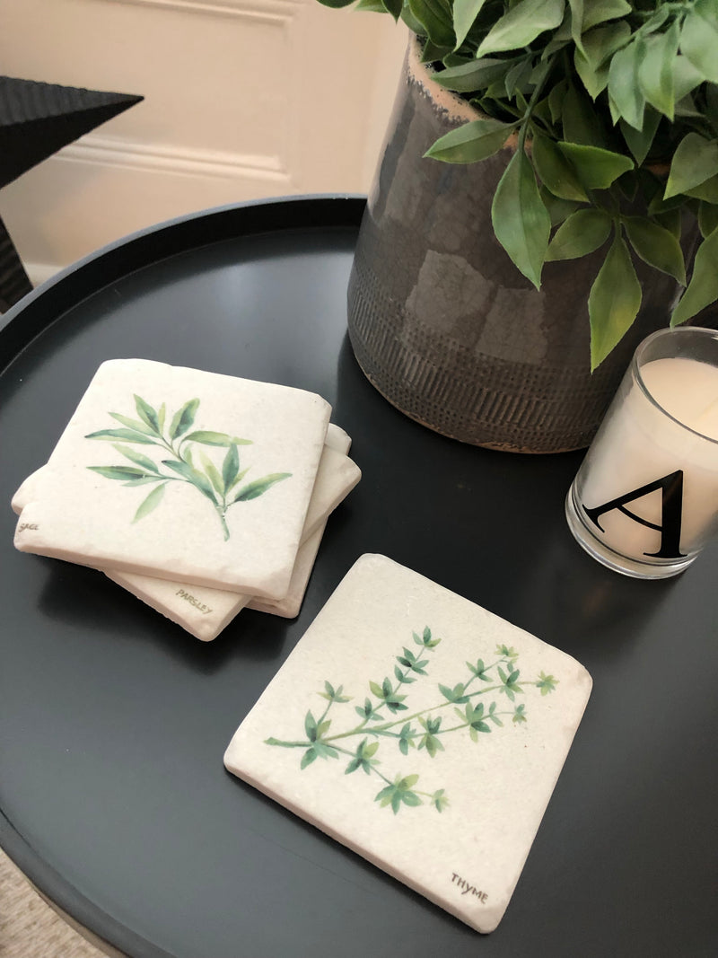 Herbs set of 4 resin coasters