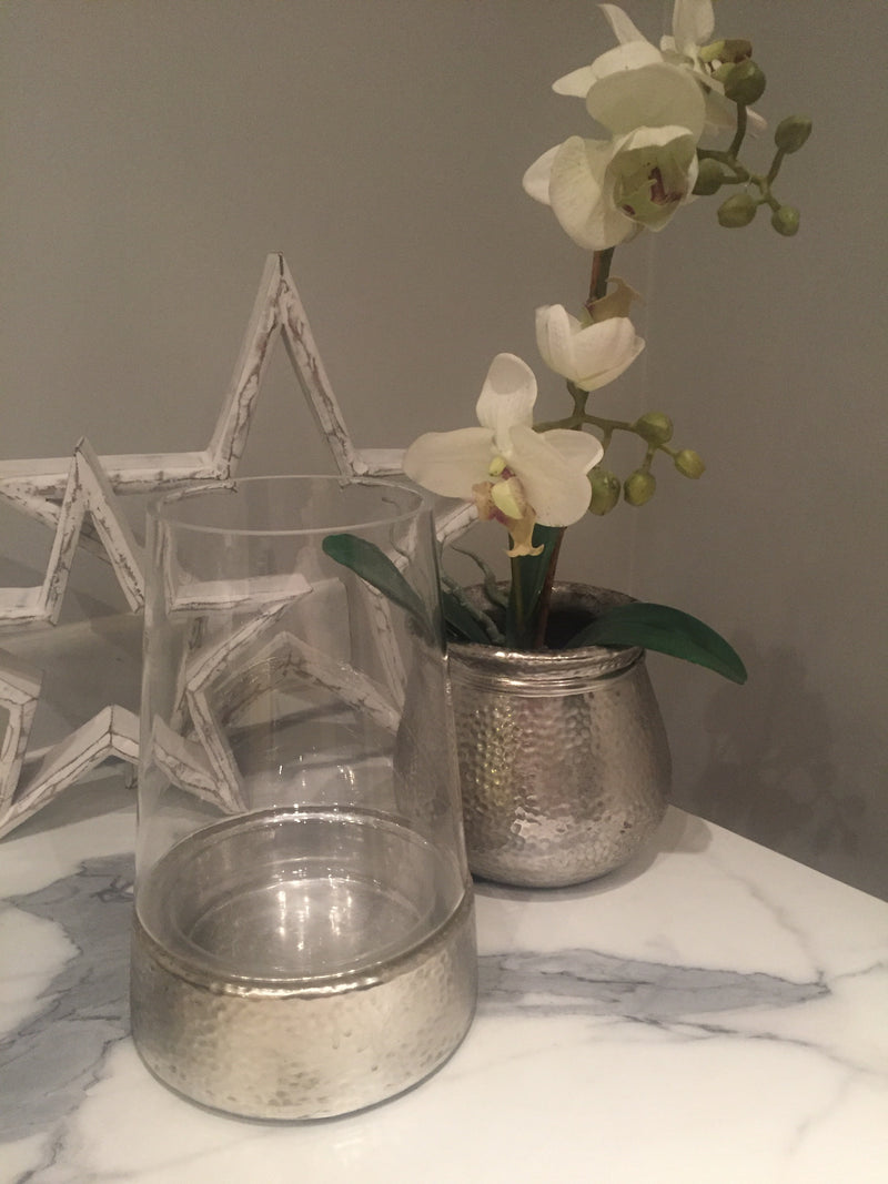 Medium Silver ceramic Star Candle Bowl
