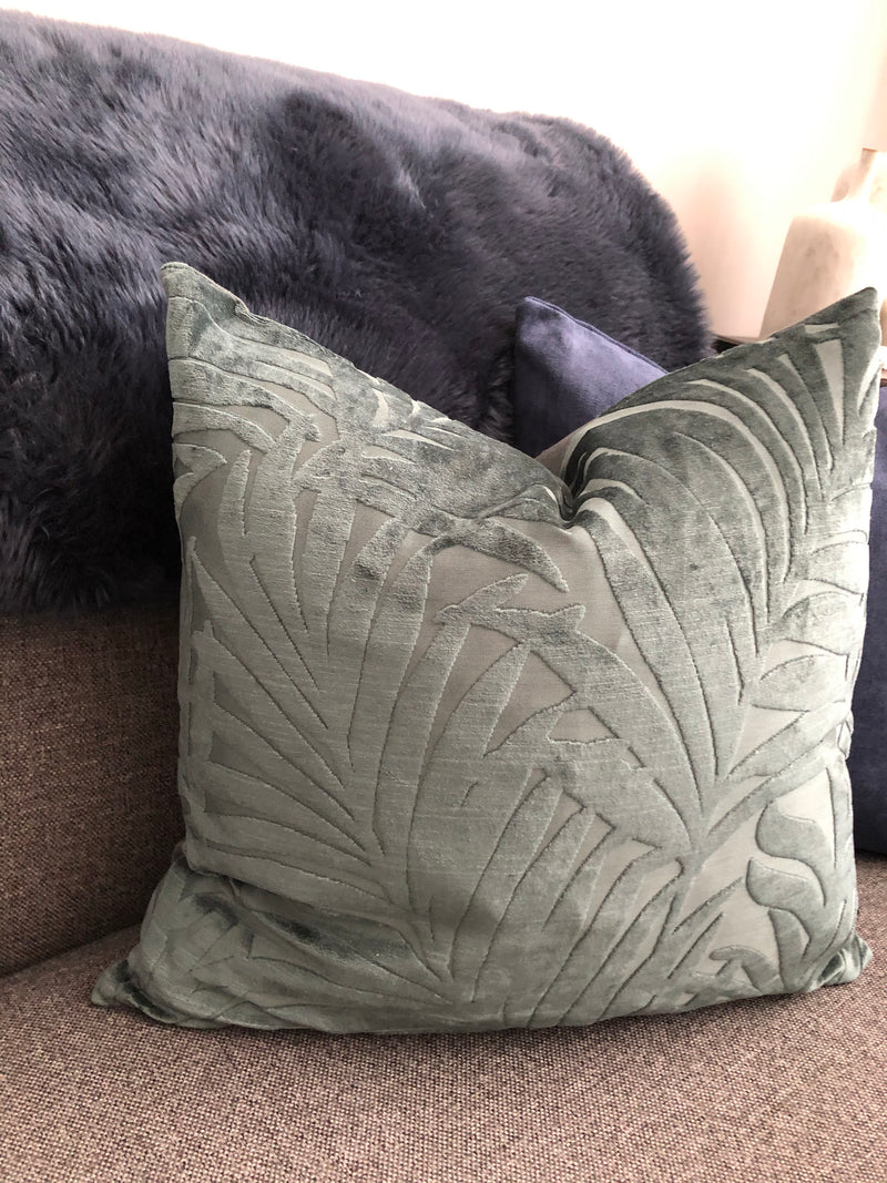 Forest Green leaf detail cushion 45cm