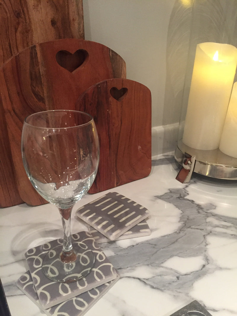 Grey and white geometric coasters