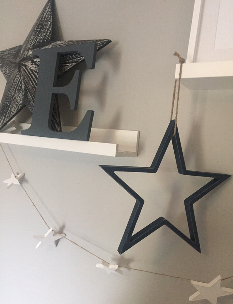 Large Navy hanging outline star