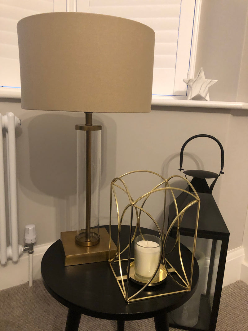 Glass and brass gold lamp with shade