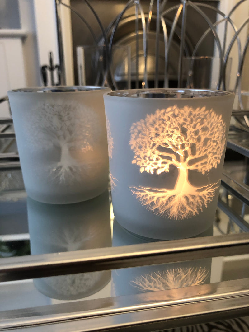 Large Silver Tree of life frosted candle holder 10cm