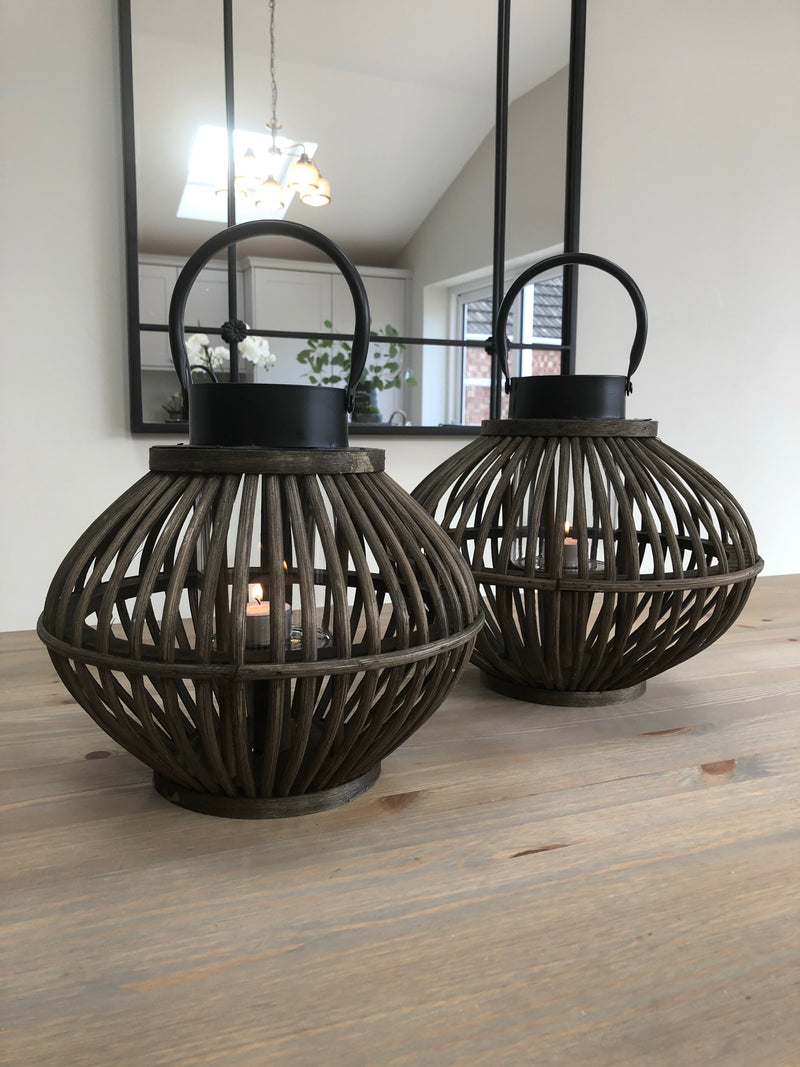Large brown bamboo bulbous round lantern
