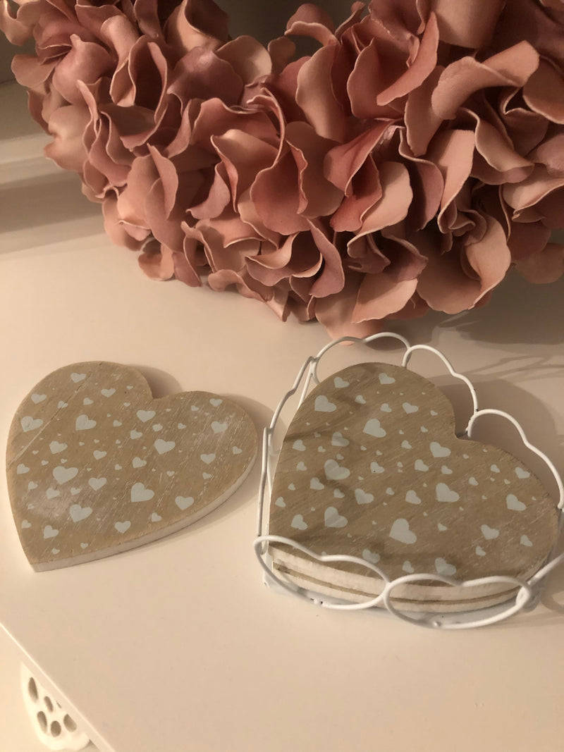 Sweetheart coasters in wire holder
