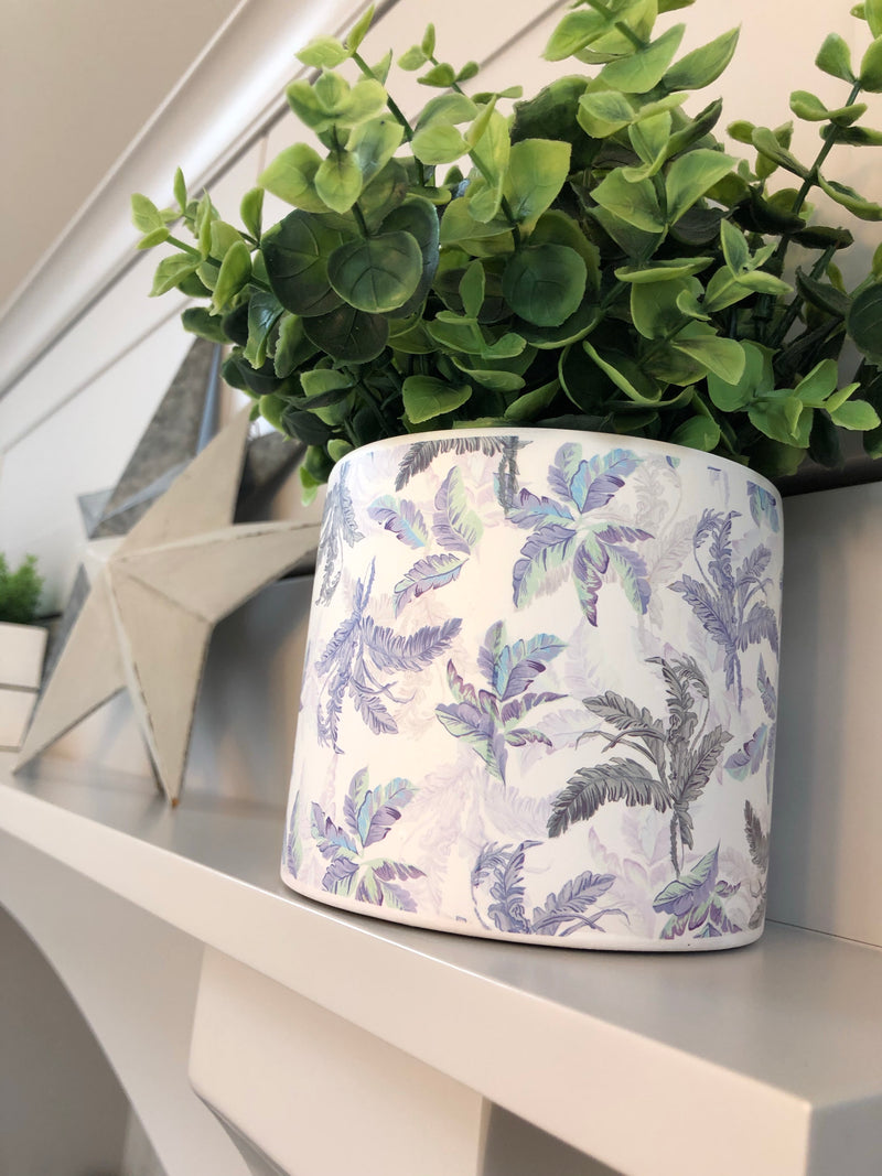Blue leaf print ceramic plant pot